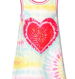 Hannah Banana/Baby Sara Mint Multi Tie-Dye Heart Print A-Line Dress