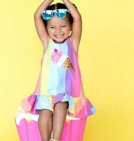 Hannah Banana/Baby Sara Ice Cream Patch Rainbow Stripe Dress