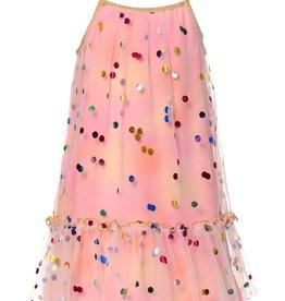 Hannah Banana/Baby Sara Polka Dot Ruffle Hem Mesh Dress