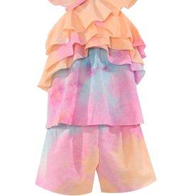 Hannah Banana/Baby Sara Tie Dye Print Tiered Halter Neck Knit Romper