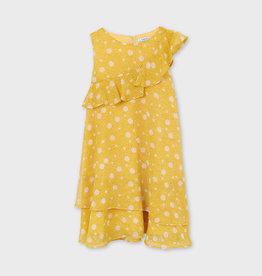 Mayoral Printed Flounces Dress Mustard