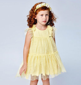 Mayoral Tulle Plumeti Dress Yellow