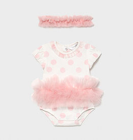 Mayoral Tutu Bodysuit w/ Headband Blush
