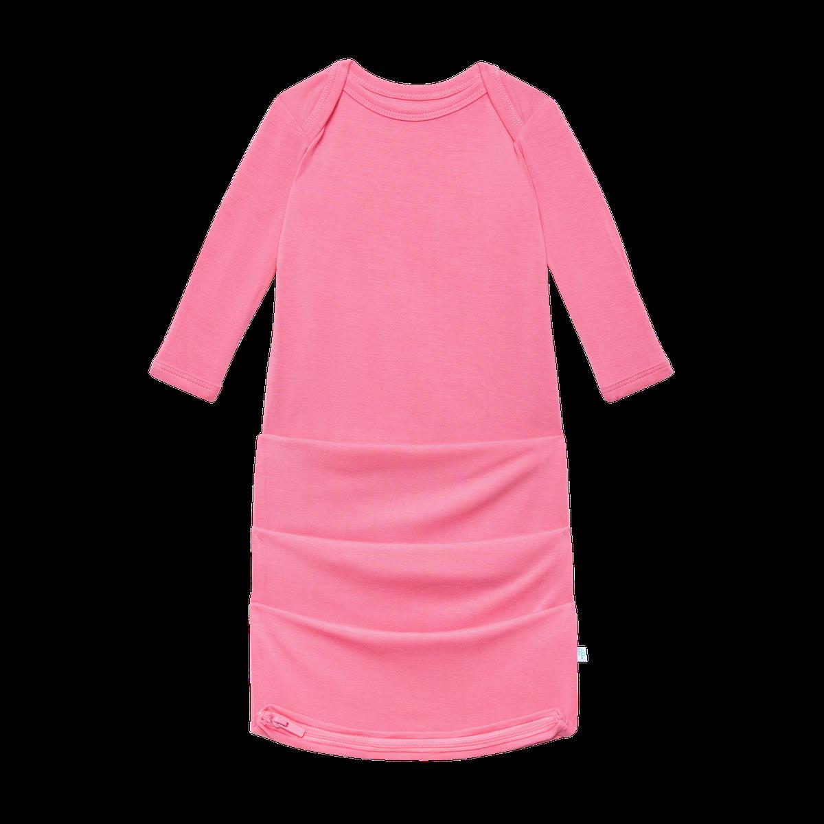 Posh Peanut Solid Pink Lemonade Basic Zippered Gown, 0/3M