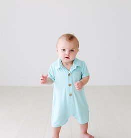 Posh Peanut Solid Robins Egg SS Collared Henley Romper