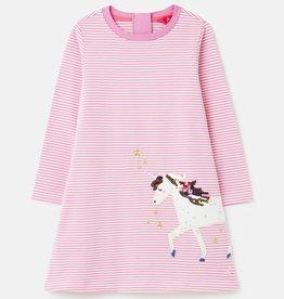 Joules Rosalee Long Sleeve Stripe Unicorn Dress