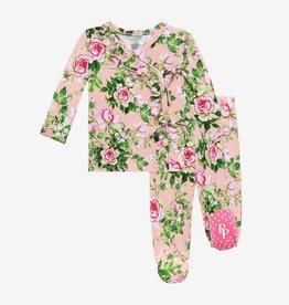 Posh Peanut Renia Tie-Front Ruffled Kimono, 0/3M