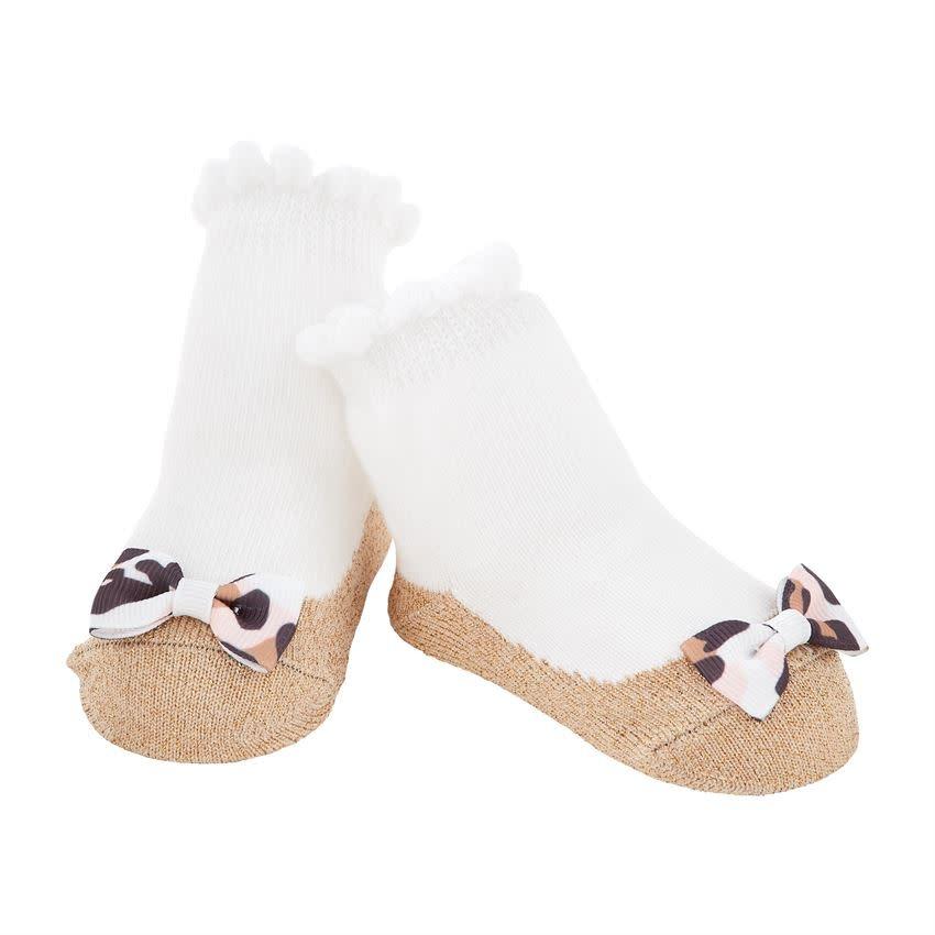 Mud Pie Gold & Leopard Bow Socks ONE SIZE (0-12M)