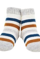 Mud Pie Gray & Blue Stripe Socks ONE SIZE (0-12M)
