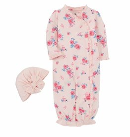 Mud Pie Little Bloom Gown & Hat Set OS (0/3M)