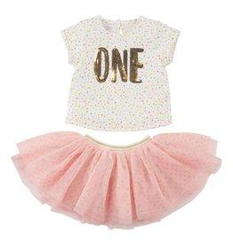 Mud Pie ONE Skirt Set (Blush & Gold) 12/18M