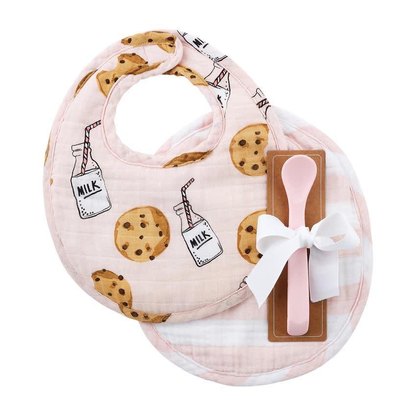 Mud Pie Pink Milk Muslin Bibs & Spoon Set