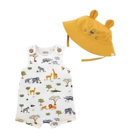 Mud Pie Printed Safari Romper & Sun Hat Set