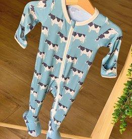Kozi & Co Blue Cows Footie w/ Zipper