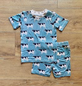 Kozi & Co Blue Cows PJ Short Set
