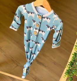 Kozi & Co Blue Cows Knotted Gown