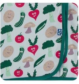Kickee Pants Swaddling Blanket Illusion Blue Happy Veggies