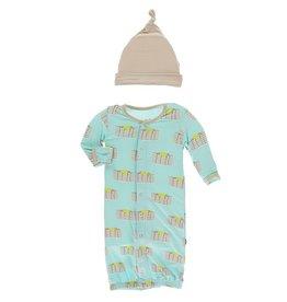 Kickee Pants Gown Conv & Hat Set Summer Sky Pancakes