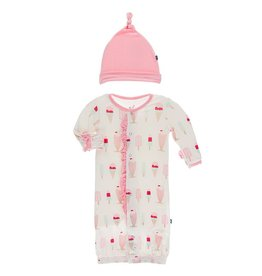 Kickee Pants Ruff Gown Conv & Hat Set Nat Ice Cream