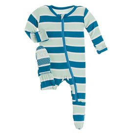 Kickee Pants Footie Zipper Seaside Cafe Stripe