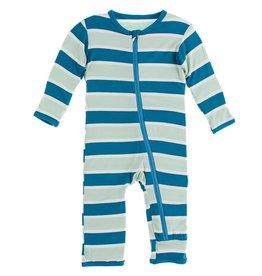 Kickee Pants Coverall Zipper Seaside Cafe Stripe