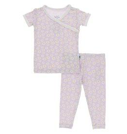 Kickee Pants SS Scallop Kimono PJ Set Thistle Chamomile