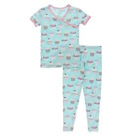Kickee Pants SS Kimono PJ Set Summer Sky Cupcakes