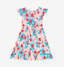 Posh Peanut Strawberry Ruffled Capsleeve Basic Twirl Dress