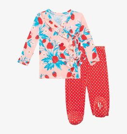 Posh Peanut Strawberry Tie-Front Ruffled Kimono Set 0/3M