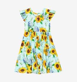 Posh Peanut Sunny Ruffled Capsleeve Henley Twirl Dress