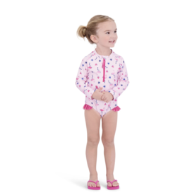 Andy & Evan Light Pink Flamingo LS Swimsuit