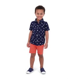 Andy & Evan Navy Shark Polo & Orange Short Set