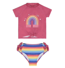 Andy & Evan Pink Rainbow Rashguard Swim Set