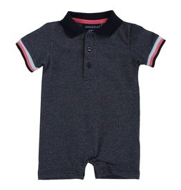 Andy & Evan Heathered Navy Polo Romper