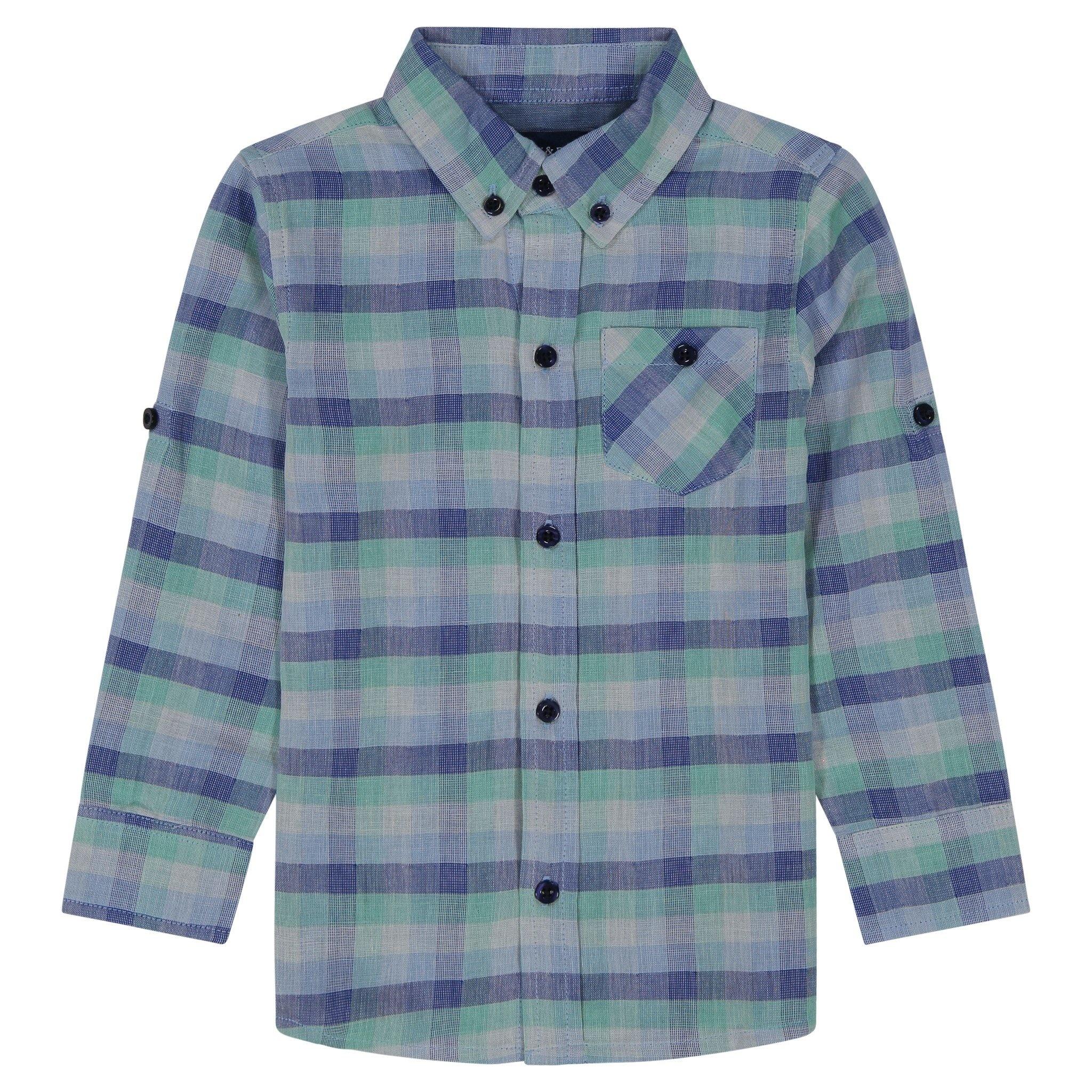 Andy & Evan Aqua Two-Faced Button-down Shirt