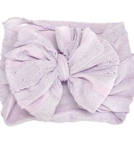 In Awe Couture Ruffle Headband Lilac Gold Glitter
