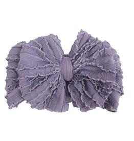 In Awe Couture Ruffle Headband Steel Lavender Mini Ruffles