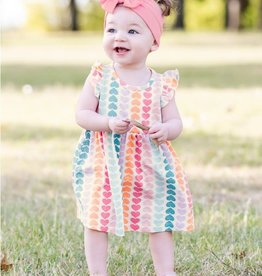 Ruffle Butts/Rugged Butts Rainbow Hearts Flutter Dress