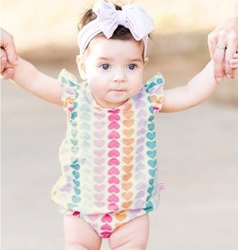 Ruffle Butts/Rugged Butts Rainbow Hearts Flutter Bodysuit