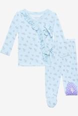 Posh Peanut Grace Tie-Front Ruffled Kimono Set 0/3M