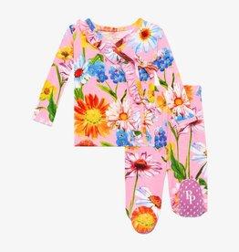 Posh Peanut Kaileigh Tie-Front Ruffled Kimono Set 0/3M