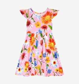 Posh Peanut Kaileigh Ruff. Capsleeve Basic Twirl Dress