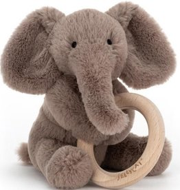 Jellycat Smudge Elephant Wooden Ring Rattle