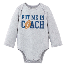 "Mud Pie ""Put Me In"" Football Sports Onesie 0/6M"