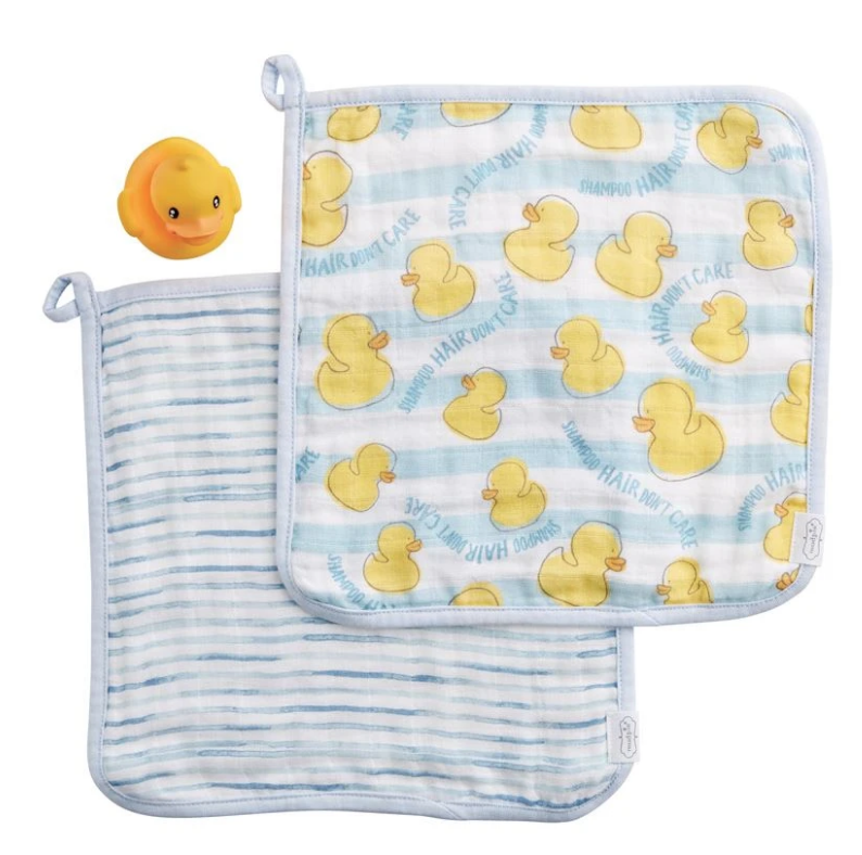 Mud Pie Blue Washcloth & Duck 3pc Set
