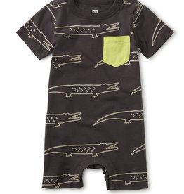 Tea Collection Pop Pocket Shortie Baby Romper Crocodiles