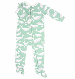 Sweet Bamboo Piped Zipper Footie Green Whale