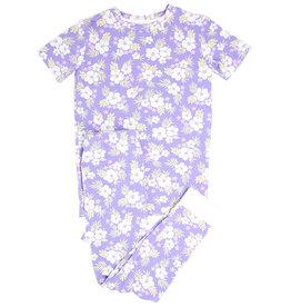 Sweet Bamboo SS PJ Set Purple Hibiscus