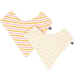 Sweet Bamboo Handkerchief Bib Set Peacock/Pink & Gold Stripe