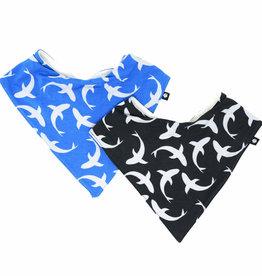 Sweet Bamboo Handkerchief Bib Set Black & Grey/Blue Shark